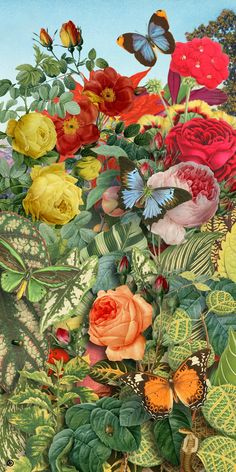 ARTEFACTS - antique images: Original Artefacts Montage (Butterfly Garden) — for personal use only!