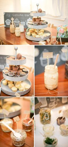 I love the idea of a dessert table, and I've posted before on the ice cream sundae buffet as a spin-off of that. Today, I've come across something else -- the DIY cupcake bar. With cupcakes becoming more and more popular at weddings, I think this is such a cute idea! There's something just so sweet