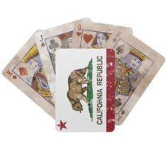 california republic state flag card decks
