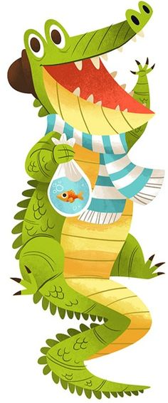 Cute crocodile illustration, doodle sketch, smile, illustration for kids, children, cheerful funny colorful graphic design