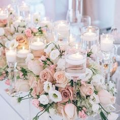 Wedding Decorations wedding centerpieces pink with spring flowers and roses and candles love theory - Wedding centerpieces are one of the key positions of the wedding decor. The most impressive, of course, are the floral wedding centerpieces. Pink Wedding Centerpieces, Wedding Flower Arrangements, Floral Arrangements, Wedding Bouquets, Centerpiece Ideas, Table Centerpieces, Blush Centerpiece, Wedding Flower Decorations, Table Arrangements