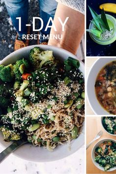 Get back on track with our one-day reset menu. Includes a smoothie, soup, + super simple noodles. All are vegan. Body Reset, The Body Book, Cameron Diaz, Super Simple, Palak Paneer, Noodles, Smoothie, Spicy, Healthy Living