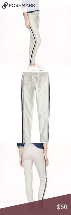 """New J.Crew Side Stripe Skinny Sweatpants NWT. According to J.Crew - Feel free to wear these cute sweats out of the house. The difference between sloppy and presentable is the sleek skinny fit and sporty stripes. Cotton. Back pockets. Slim fit. 29"""" inseam. Super soft. J. Crew Pants"""