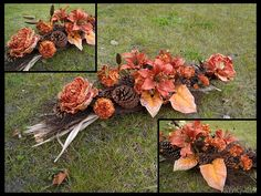 Zdjęcie nr #3403 Grave Decorations, Black Flowers, Floral Wreath, Wreaths, Stone, Fall, Florists, November, Design