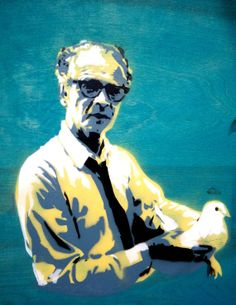 B. F. Skinner holding a pigeon. I don't know why this makes me want to laugh.