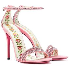 Gucci Embellished leather sandals - Gucci Sandals - Ideas of Gucci Sandals - Gucci Embellished leather sandals Pink Sandals, Pink Shoes, Shoes Sandals, Flat Sandals, Gladiator Sandals, Pretty Shoes, Beautiful Shoes, Embellished Heeled Sandals, Most Expensive Shoes