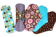 SALE! Set of 5 Cotton Menstrual Sanitary Cloth Pads! Washable and Reusable!, $26.00