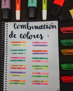"Study with Ce en Instagram: ""COMBINACIÓN DE COLORES 🌈😍🙈💕 . Son algunos ejemplos, recuerden que pueden usar los colores como quieran, y pueden combinarlos de mil formas…"" Bullet Journal School, Bullet Journal Banner, Bullet Journal Notes, Bullet Journal Aesthetic, Bullet Journal Writing, Bullet Journal Ideas Pages, Bullet Journal Inspiration, School Organization Notes, School Notes"