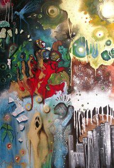 "Saatchi Art Artist Cherie Roe Dirksen; Painting, ""Resurrection — Rock Art Series (MUSE)"" #art"