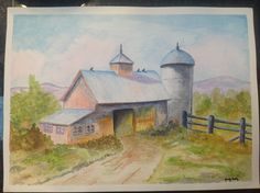 """Watercolor Painting Barn with silo, original and not framed. 15""""x11"""" Q – Tamm's Marketplace"""