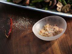 Roasted Asparagus and Mushrooms with Chile-Lemon Salt recipe from Valerie Bertinelli via Food Network