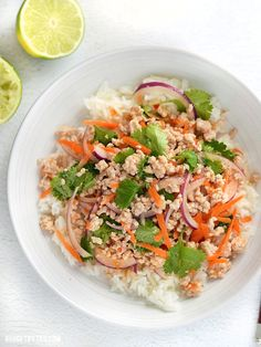 Nam Sod is a vibrant and freshly flavored pork (or turkey) salad drenched with a lime, ginger, and chili dressing. Light, filling, and flavorful. - BudgetBytes.com