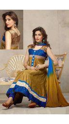 Anarkali Suit at Lowest Price : Khantil Mahendi Georgette Anarkali Suit at Flat 48% Off + 500 Cash Back - Best Online Offer