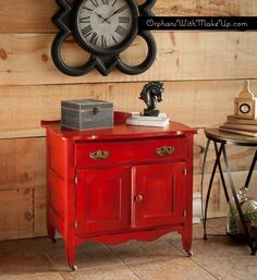 "Antique Wash Stand painted with Chalk Paint® decorative paint by Annie Sloan in ""Emperor's Silk Red"""