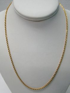 "1/20 14K YELLOW GOLD FILLED 20"" ROPE 2.4MM WIDE NECKLACE CHAIN 8.6g UNISEX #Chain Necklace Chain, Beaded Necklace, Gold Necklaces, Pendant Necklace, Sterling Silver Jewelry, Unisex, Yellow, Gifts, String Of Pearls"