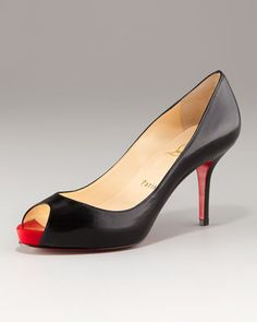 Mater Claude Open-Toe Mid-Heel Pump by Christian Louboutin---My most worn pair of black pumps. worth it.