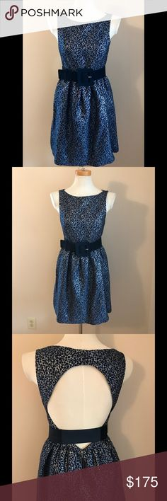 Stunning Alice + Olivia Cocktail Dress Drop dead gorgeous sleeveless cocktail dress by Alice + Olivia. Navy and metallic silver polka dot jacquard. Perfect for any formal event or night on the town. Key hole back with double snap closure at neck and zipper hook/eye closure at skirt. Looks great with or without statement belt (included in purchase). Like new condition, only worn once. Shell 56% acrylic 24% wool 14% polyester 6% metallic; bodice lining 93% silk 7% Lycra; skirt lining 100%…