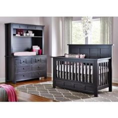 Grey And Pink Crib Bedding With Hot Pink Accents On Babyu0027s Dream Furniture  Westcott Crib.