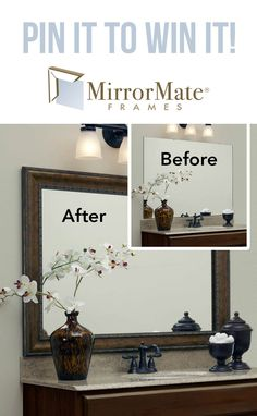 Enter to win a Mirror Mate frame here: Guest Bathrooms, Bathrooms On A Budget, Master Bathroom, Bathroom Inspiration, Bathroom Ideas, Home Projects, Home Remodeling, Diy Home Decor, Home Improvement