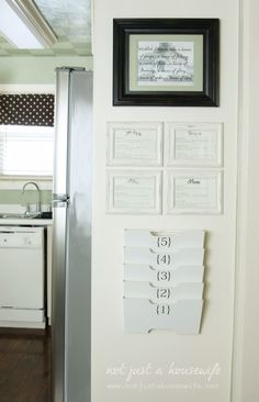 kitchen command center: IKEA metal file rack with vinyl numbers (love!) and framed chore charts/schedules for each person...could also write on glass with dry erase markers