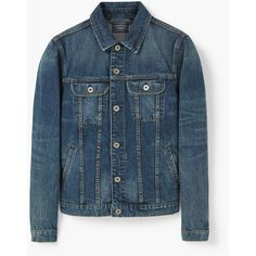 MANGO MAN Dark Wash Denim Jacket ($60) ❤ liked on Polyvore featuring men's fashion, men's clothing, men's outerwear, men's jackets, dark vintage blue, mens vintage jacket, mens blue jacket, mens blue jean jacket, mens vintage jean jacket and mens vintage denim jacket
