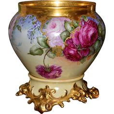 Limoges Large Signed:Jardiniere Red/Pink/Yellow Roses with Heavy Gold Detailing and Matching Ornate Plinth