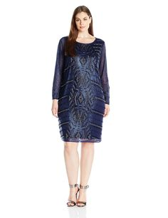 Marina Women's Plus Size Short Glitter Knit Cocktail with Beaded Front, Navy, 22W. Long sleeve. Short cocktail.