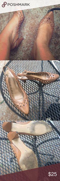 ☀️Tan leather slingback heels Vintage leather nude slingback low heels Anthropologie Shoes Heels