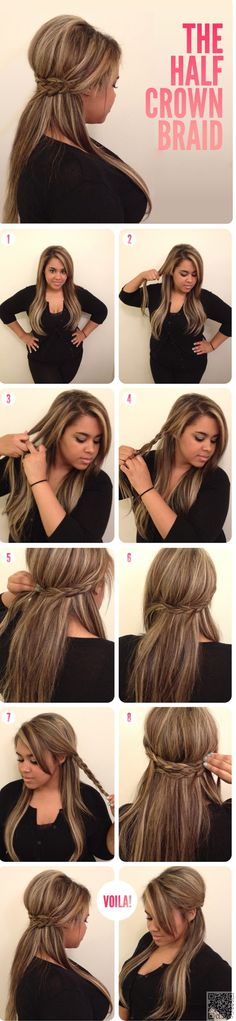 8. Half #Crown Braid - 37 #Stunning Braided Crown #Hairstyles for Every #Occasion ... → Hair #Hairstyle