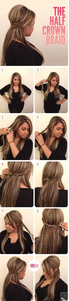 8. Half #Crown Braid - 37 #Stunning Braided Crown #Hairstyles for Every…