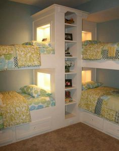 Great for slumber parties or lots of guests. Would need some rails for the top bunk if you had kids in them though.