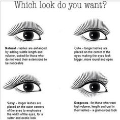 """""""Many people don't know you can create different shapes with eyelash extensions! What look do you like best? Let your eyelash tech know! If you want to…"""" Nail Design, Nail Art, Nail Salon, Irvine, Newport Beach Longer Eyelashes, Long Lashes, Fake Eyelashes, False Lashes, Eyelashes Makeup, Beauty Tips For Skin, Beauty Hacks, Cluster Eyelashes, Eyelash Extensions Before And After"""