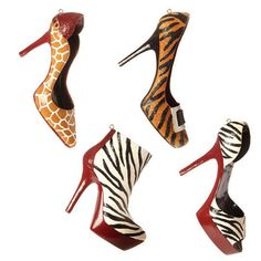 RAZ Animal Print High Heel Ornaments Set of 4 Christmas Catwalk Collection Christmas Decoration #trendytree #raz