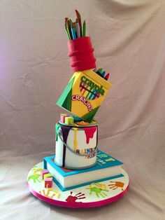 Crayola themed cake - for all your cake decoration supplies, please visit c Gravity Defying Cake, Gravity Cake, Crayon Cake, School Supplies Cake, Custom Cupcakes, Different Cakes, Art Birthday, Birthday Parties, Art Party