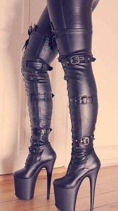 black women s boots size 6 Thigh High Heels, Platform High Heels, Black High Heels, High Heels Stilettos, High Heel Boots, Heeled Boots, Stiletto Heels, Pumps, Shoes Heels