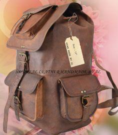Leather Backpack Messenger Bag  Handmade Soft Leather Mens Unisex School College Satchel Handbags/Bags Picnic Weekend bag. $79.00, via Etsy.