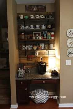 Coffee bar. Yes please....I need sone shelves above mine