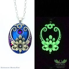 Glow In The Dark Pendant, Handmade Polymer Clay Art Jewelry *Flowers of the Night* by wizArts