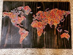 WORLD String Art rainbow on ebony by nidification on Etsy