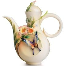 Fluttering Butterfly and Flower Teapot | FZ01840 | Franz Porcelain Collection
