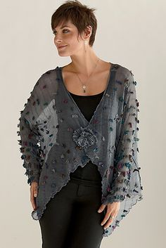 """Pezzo Jacket""  Silk Jacket Created by Deborah Murphy Hand-dyed, multi-hued ""eyelashes"" are gently sprinkled throughout this sheer silk organza jacket. Can be worn open or closed."