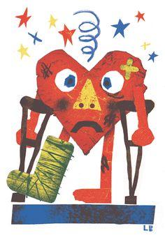 Broken Heart Risograph - Liam Barrett Illustration