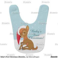 Baby's First Christmas (Reindeer) Baby Bib #reindeer #christmas #deer #holidays #babys1stchristmas