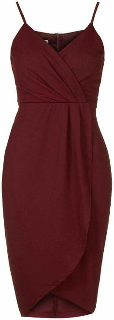 Womens burgundy wrap over midi dress by wal g - from Topshop Trendy Dresses, Cute Dresses, Beautiful Dresses, Short Dresses, Dress Outfits, Fashion Dresses, Burgundy Dress Outfit, Burgendy Dress, Wal G