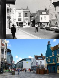 I do not take any credit for this 'then & now' photo of New Road / Jubilee Street, Brighton.
