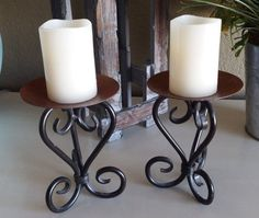 Vintage BronzeColored Wrought Iron Candle by ForgetMeNotsCottage, $24.00