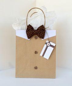 Brown Diamond Pattern Bowtie Gift Bag