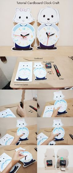 DIY Tutorial to make cardboard clock. Suitable for children craft.