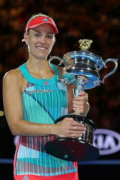 Angelique Kerber of Germany poses with the Daphne Akhurst Trophy after winning the Women's Singles Final against Serena Williams of the United States during day 13 of the 2016 Australian Open at. Get premium, high resolution news photos at Getty Images Angelique Kerber, Wta Tennis, Sport Tennis, Us Open, Australian Open, Serena Williams, Wimbledon, Angie Kerber, Petkovic