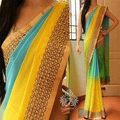 Indian Bridal Lehenga, Indian Sarees, Indian Fashion Dresses, Indian Outfits, Saree Color Combinations, Farewell Sarees, Yellow Saree, Stylish Sarees, Elegant Saree